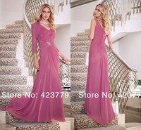 Wholesale 2014 Cheap flow chiffon A line mother of the bride dresses sexy V neck backless beaded evening prom gowns with long sleeves bolero