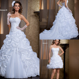 2015 Saigon Summer Two Pieces Wedding Dresses A-Line Sweetheart White Organza Appliques Tiers Pleated Flowers Garden Bridal Gowns 2015