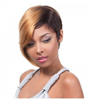 Wholesale Human Hair Full Wig Short and blonde mix black straight