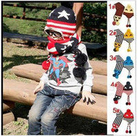 Wholesale Hot Sales American Flag Scarf Hat set five Star Cap Stripe Crochet Winter Hats for boys with Ear Protector Kids