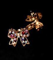 beaded butterfly earrings - Type Pairs Multicolor Rhinestone Hollow Crystal Butterfly Stud Wedding beaded Earrings