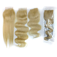 Brazilian Hair Blonde Straight color 613 blonde lace closure,613# Brazilian virgin hair body wave lace closure bleached knots, 4x4 inch swiss lace top closures