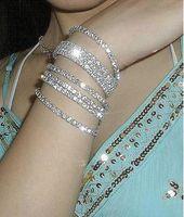 Wholesale Rhinestone Crystal Stretch Tennis Wedding Chain Bracelets promotion gift Single Row Bracelet One Row Bracelet Set With Crystal Rhinestone