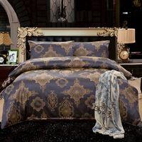 Wholesale Fedex Free Home Textile Wedding Bedding Sets noble brown Jacquard high grade cotton duvet cover bed sheet pillow