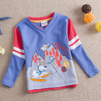 winter and spring cartoon animal dog long sleeved cotton T- s...