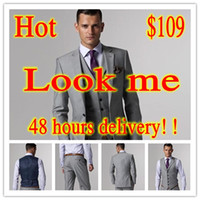 Wholesale Light Grey Two Button Notch Lapel Groom Tuxedos Bridegroom Best Man Suit groom wedding suit wedding suits for men Jacket Pants Tie vest