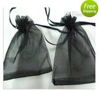 Wholesale Large Black Wedding Organza bags cm Organza Jewelry Gift Pouch Bags Drawstring Wedding Bag