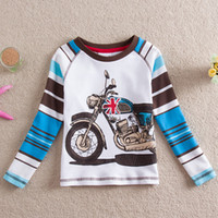 motorcycle shirt - New cool boy s cartoon motorcycle striped cotton T shirt whirt clothes size L82119
