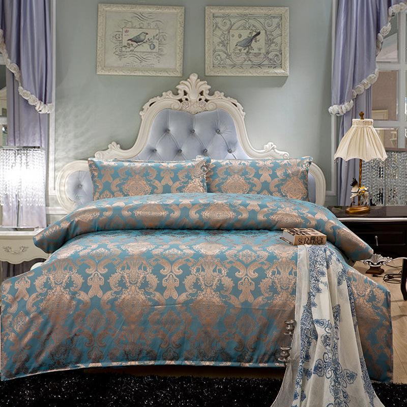 luxury home textile bedding sets noble blue gold jacquard high grade cotton king queen size. Black Bedroom Furniture Sets. Home Design Ideas