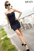 Wholesale Krazy american apparel new fashion vintage sexy dress denim club dresses slim tube top bodycon party dresses blue DR0183