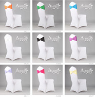 Wedding Mixed  Free Ship 25pcs Mixed Elastic Wedding Chair Cover Sashes Sash Party Banquet Decoration Decor Bow Colours