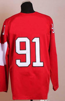 Ice Hockey Men Full 2014 Sochi Winter Olympics Jerseys Men`s #91 Steven Stamkos Red Black Ice Hockey Jerseys Mix Order