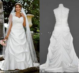 Robes blanches chérie volants de mariage en Ligne-Plus la taille une ligne de robes 2014 amie blanche décolleté Perles cristal volant A ligne étage longueur satin mariage robes 9T3090