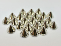 Wholesale 100 Silver Tone Metallic Rock Punk Spike Rivet Acrylic Taper Stud Beads X8mm