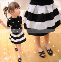 Wholesale 2014 Korean Children Girls Clothing Ball Gown Skirt Kids Party Skirts Big Striped White Black Zipper Back Dress Kids Clothes C1237