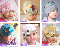 Wholesale 50TOP BABY Girls Hair Ornaments Baby Flower Headbands Childrens Hair Accessories Hats Flower spring HAT beanie BABY toddler INFANT Baby hats