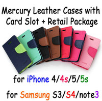 Universal Leather Black Cheapest Price Mercury Leather Cell Phone Wallet Cases for iPhone 4 4s 5 5s Samsung S3 S4 with Card Slot and Retail Packing Free Shipping