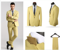 Wholesale High quality popular Hote sale mens suits casual dress ivory yellow blue one button two pieces coat pants XS XL