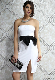 Wholesale Stunning Side up Strapless White Black Dress Summer Spring Autumn Women Fashion LC2940