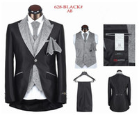 Wholesale hot sale mens suits wedding groom suit men for wedding one button five pieces black white sliver XS XL