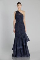Reference Images Pleats Sleeveless 2014 Spring Navy Mermaid Maid Of Honor Dresses Tulle One Shoulder Bow Sash Ruched Full Length Bridesmaid Dresses Monique Lhuillier