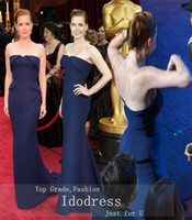 Cheap 2014 New Blue Celebrity Dresses Trumpet Mermaid Strapless Peplum Backless 86th Oscar Chiffon Women Gowns yk8R647