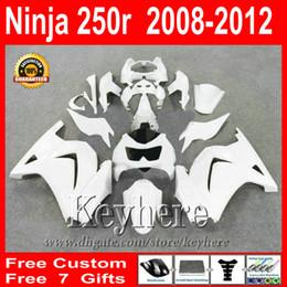 Custom white fairing kit for Kawasak Ninja 250R 2008 2009 2010 2011 2012 Ninja EX250 08 09 10 11 12 fairings 7 gifts