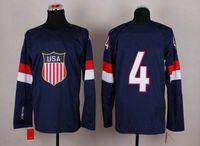 Ice Hockey Men Full 2014 Sochi Winter Olympics Team USA Jerseys Ice Hockey Jerseys Men`s #4 John Carlson White Blue White Hockey Jerseys Mix Order