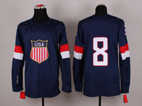 Ice Hockey Men Full 2014 Sochi Winter Olympics Team USA Jerseys Ice Hockey Jerseys Men`s #8 Joe Pavelski White Blue White Hockey Jerseys Mix Order