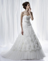 Wholesale Anjolique Fashion Beaded Belt Two Layers Tulle and Lace Corset Wedding Dresses Sweetheart A Line Court Train A200 Covered Button