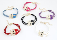 Wholesale 2014new Womens Mens Friendship Bracelets Alloy Drop Oil Owl Charms Bracelet Jewelry The Cheap