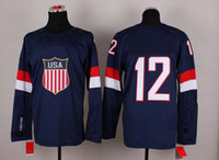Ice Hockey Men Full 2014 Sochi Winter Olympics Team USA Jerseys Ice Hockey Jerseys Men`s #12 Derek Stepan White Blue White Hockey Jerseys Mix Order