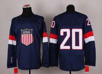 Ice Hockey Men Full 2014 Sochi Winter Olympics Team USA Jerseys Ice Hockey Jerseys Men`s #20 Ryan Suter White Blue White Hockey Jerseys Mix Order