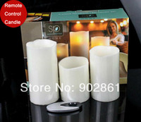 Wholesale funlife Flameless Ivory Pillar Wax RC Candles Remote Control Set of Wedding Party Anniversary Candle