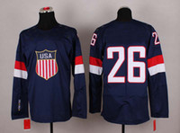 Ice Hockey Men Full 2014 Sochi Winter Olympics Team USA Jerseys Ice Hockey Jerseys Men`s #26 Paul Stastny White Blue White Hockey Jerseys Mix Order