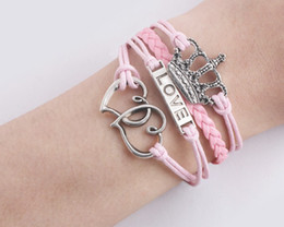 Friendship Bracelet Antique Silver Heart to Heart Love Crown Charms bracelet Pink Wrap Leather Wax Cords bracelet Karma Bracelet