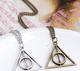 Wholesale 2014 Silver Deathly Hallows Pendant Necklace harry potter new arrival Bronze ancient silver four colors