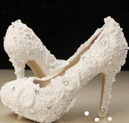 Wholesale Ivory beautiful Vogue lace Pearl Crystal High Heels Wedding Bridal Shoes