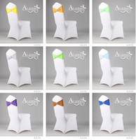 Wholesale Free Ship Mixed Elastic Wedding Chair Cover Sashes Sash Party Banquet Decoration Decor Bow Colours