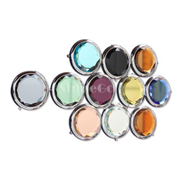 Wholesale 10 New Arrivals Cosmetic Compact Mirrors Crystal Magnifying Multi Color Make Up Makeup Tools Mirror Wedding Favor Gift