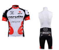 Wholesale 2014 LATEST CERVELO Bib Cycling Jersey Sets Breathable Quick Dry Close fitting Bicycle Clothings Summer Cool Fashion Wear on Sale