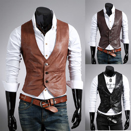 Wholesale 2013 New Fashion Men Slim Vest Men s Pu Leather Vests Men s Waistcoat