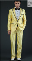 Wholesale Hot sale wedding dress suit men for wedding new style pink yellow blue one button two pieces coat pants