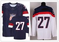 Ice Hockey Men Full Customized 2014 Sochi Olympic Team USA Hockey Jersey #27 Ryan McDonagh Blue White Hockey Jerseys Ice Winter Jersey Stitched on Size 48-56