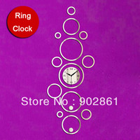 Cheap [funlife]-45x121cm(17.7x47.6in) Decorative Acrylic Mirrors Rings Family Photo Frame Decor Home Decoration's Wall Clock