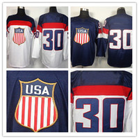 Ice Hockey Men Full 2014 Sochi Olympic Team USA #30 Ryan Miller Blue White Hockey Jerseys Ice Winter Jersey Stitched on Size 48-56 Drop Shipping