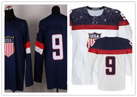 Ice Hockey Men Full 2014 Sochi Olympic Team USA #9 Zach Parise Blue White Hockey Jerseys Ice Winter Jersey Stitched on Size 48-56 Drop Shipping
