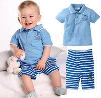 boat t shirts - children clothes summer boys cute boat lapel short sleeved t shirt striped trousers pant two sets set dandys