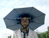 Wholesale fishing umbrella Hat umbrella cap two fold umbrella hat piece