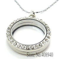 Lockets magnetic floating - 30mm Silver Round magnetic glass floating charm locket Zinc Alloy chains included for free LSFL01